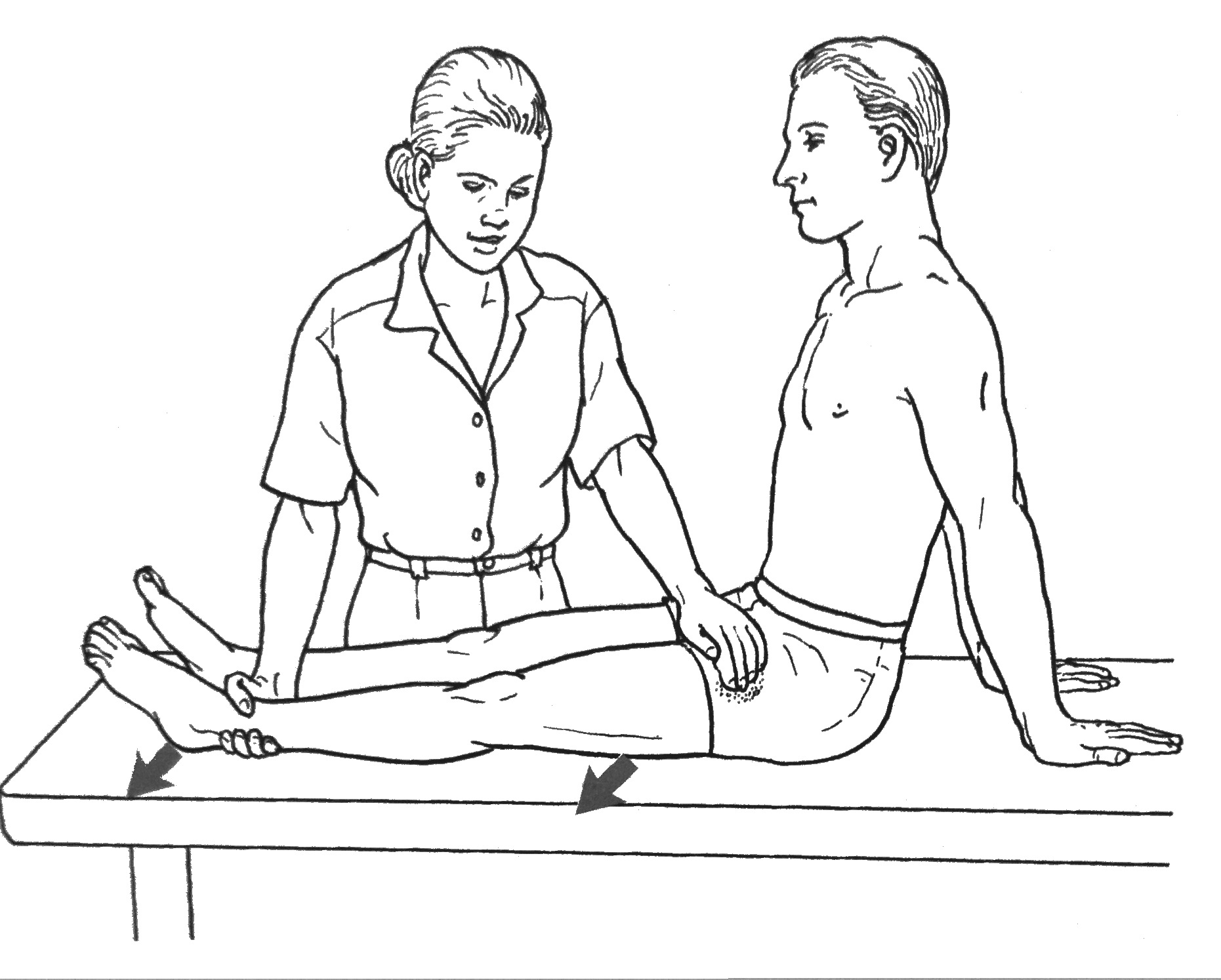 The opposite hand palpates the TFL on the proximal anterolateral thigh  where it meets the IT band. The patient abducts the hip through 30 degrees  of range.